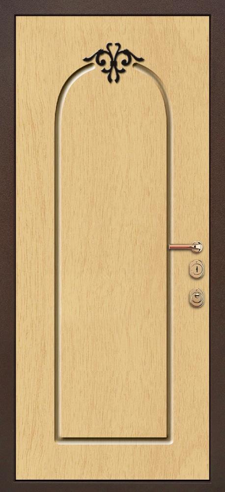 стальные двери мдф натуральный шпон с кованными элементами